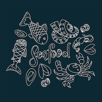 Chalk style hand drawn seafood illustration set. graphic collection of marine inhabitants in outline doodle style
