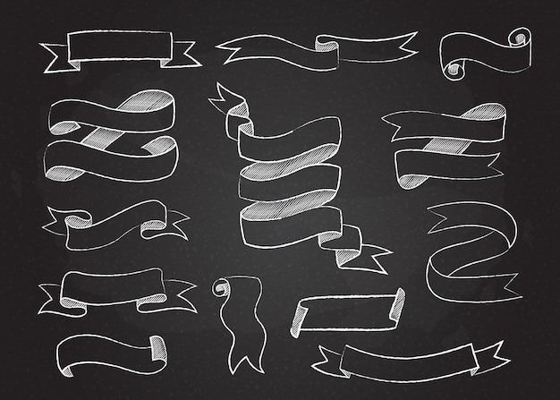 Chalk style sketchy ribbons and flags set