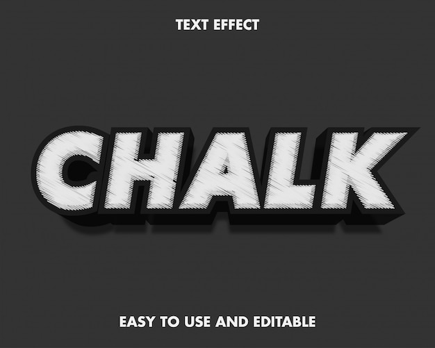 Chalk text effect. easy to use and editable. vector illustration. premium vector