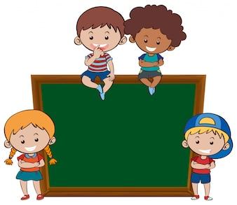 Chalkboard and children banner