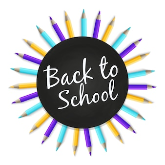 Chalkboard back to school banner with color pencils on white