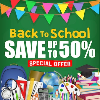 Chalkboard back to school sale promotion poster