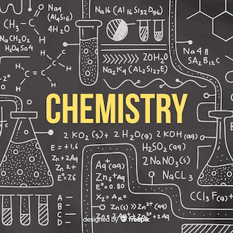Chalkboard background with chemistry information