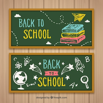 Chalkboard banners with colorful drawings