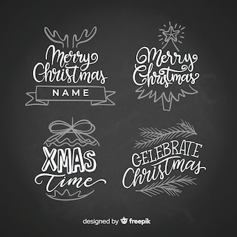 Chalkboard christmas stickers collection
