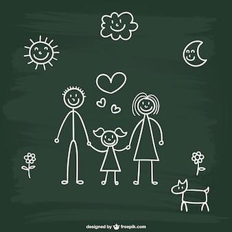 Chalkboard disegno famiglia
