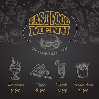 Chalkboard fast food menu in hand drawn style illustration