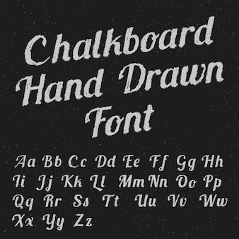 Chalkboard hand drawn font poster with black white colored letters on dark illustration