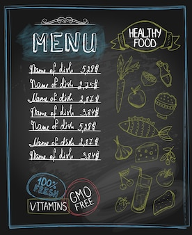 Chalkboard healthy food menu with place for text.  vector illustration