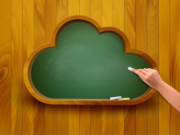 Классная доска в форме облака. концепция электронного обучения.