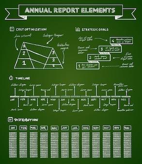黒板インフォグラフィック要素