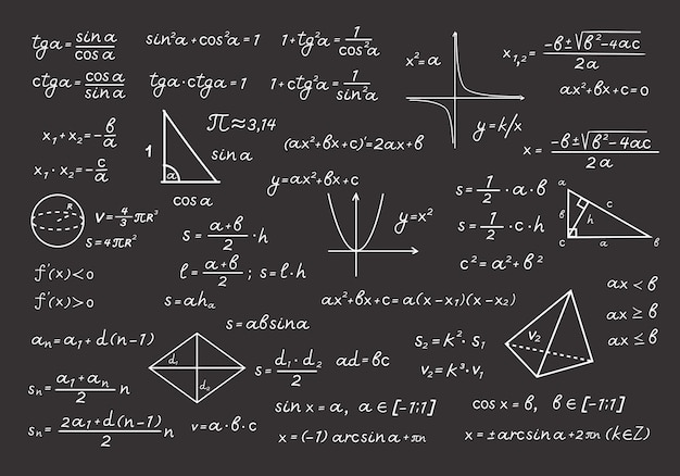 Chalkboard in mathematical formulas and calculations illustration. algebraic computation with chalk geometric drawings basic equations and theorems school and university. vector education.
