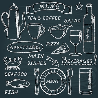 Chalkboard menu elements set