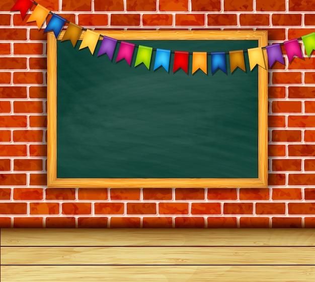 レンガの壁に黒板