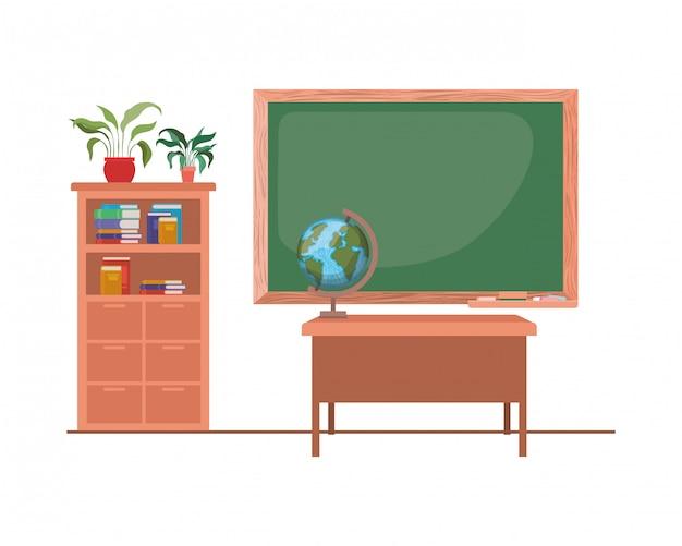 Chalkboard of school in classroom