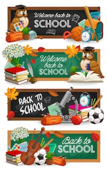 Chalkboard and school supplies, education banners