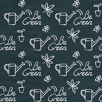 Chalkboard seamless pattern with be green text