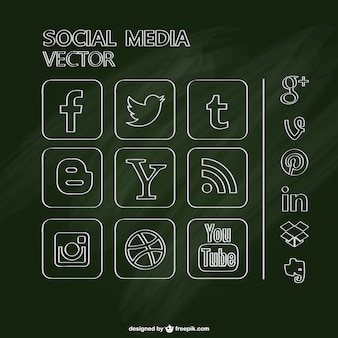 Chalkboard social media icons set