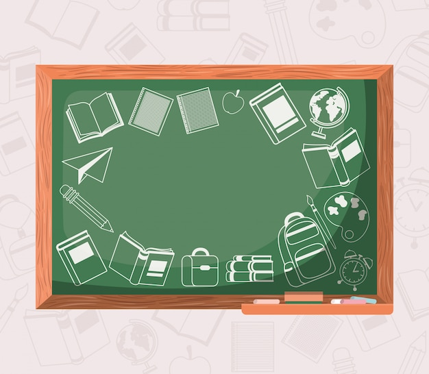 Chalkboard and supplies back to school
