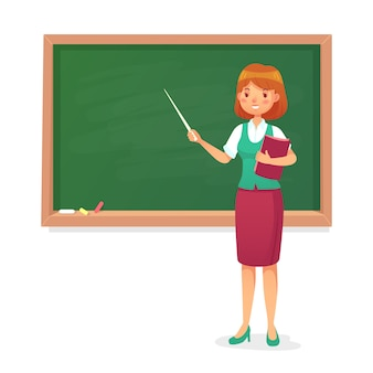 Chalkboard and teacher