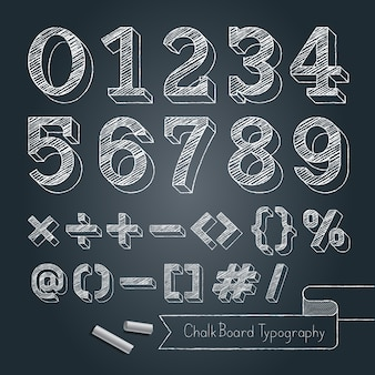 Chalkboard typography alphabet doodle style