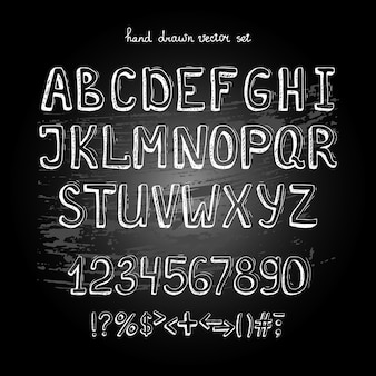 Chalkboard vector hand drawing alphabet, white letters on blackboard