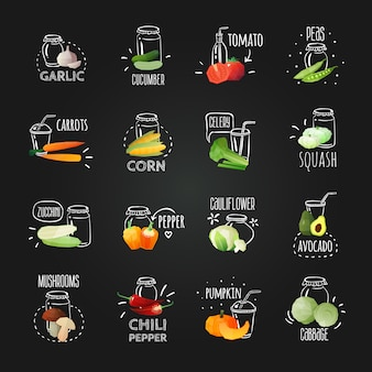Chalkboard vegetables emblem set