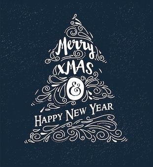 칠판, 빈티지 스타일, 타이포그래피 및 글자가있는 크리스마스 트리 프리미엄 벡터