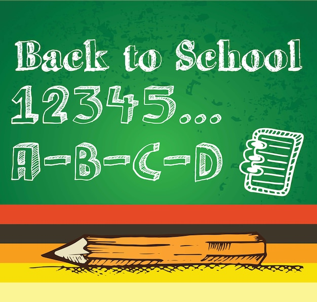 数字と鉛筆の黒板ベクトル図