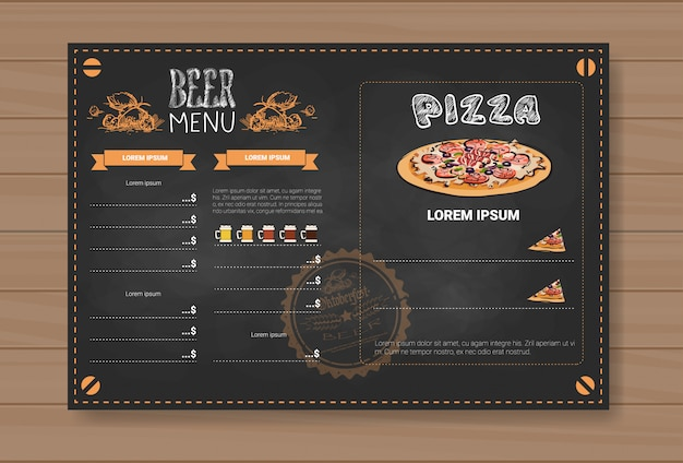 Дизайн меню пива и пиццы для ресторана кафе паб chalked