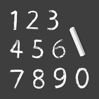 Меловые числа от одного до нуля, текстура мела на темном фоне