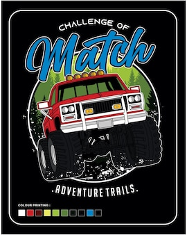 Challenge of match off road vector car illustration design graphic for printing
