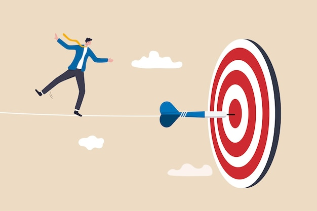 Challenge to overcome difficulty and achieve business target, risk management or strategy and skill to win and success concept, skillful businessman acrobat walk on rope to reach bullseye dart target.