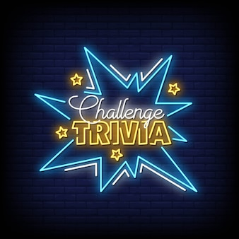 Challenge trivia neon signs style text