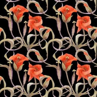 オレンジ色のchalocortusとシームレスな花柄