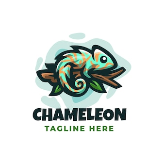 Chamaleon logo design template with cute details
