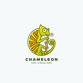 Chameleon on the branch in a circle shape.line style sign, emblem or logo template. reptile symbol.