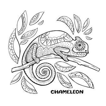 Хамелеон книжка-раскраска иллюстрации. раскраски антистресс. черно-белые линии.