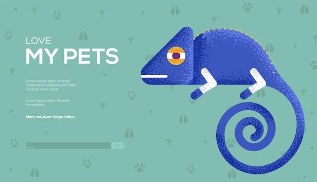 Chameleon concept flyer, web banner, ui header, enter site. .