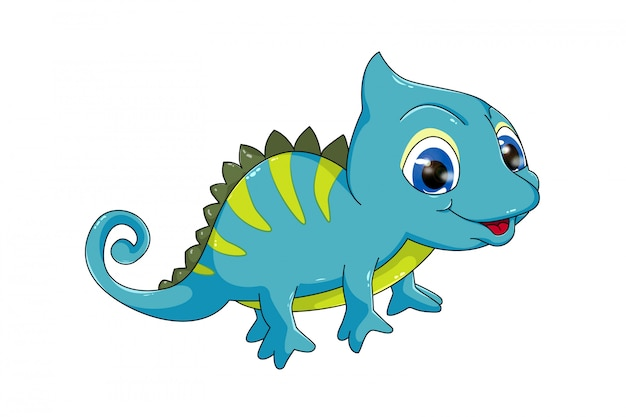 Chameleon cute and funny cartoon animals