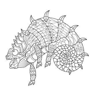 Хамелеон, нарисованный в стиле каракули