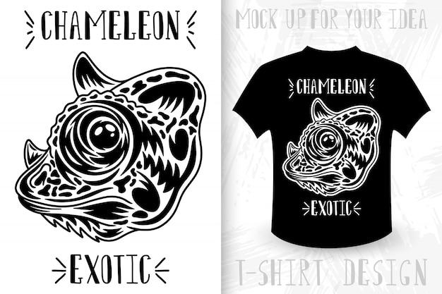Chameleon face. design idea for t-shirt print in vintage monochrome style.