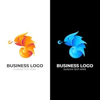 3dオレンジとブルーのカラースタイルのカメレオン火のロゴ