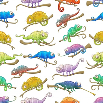 Chameleon lizard animals seamless pattern