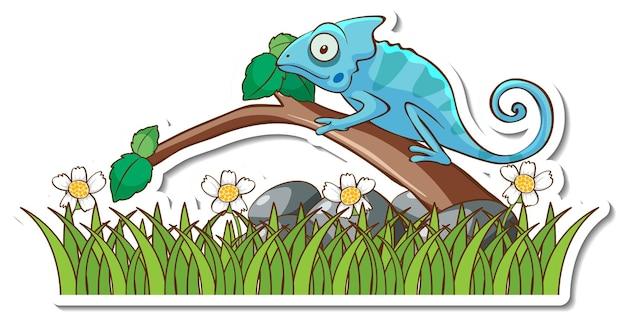 Lucertola camaleonte in piedi su un adesivo di ramo