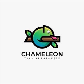 Chameleon logo design vector geometric Premium Vector