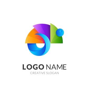 Дизайн логотипа хамелеон с 3d красочным стилем