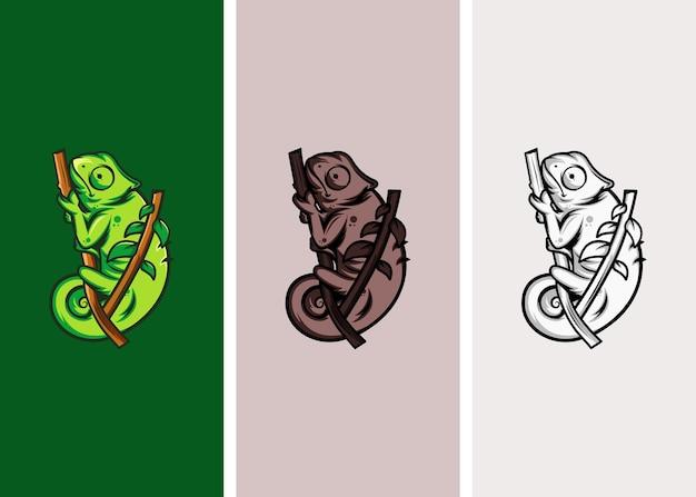 3色のカメレオンロゴデザイン