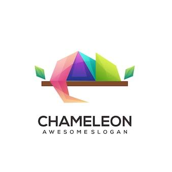 カメレオンのロゴの幾何学的な折り紙のグラデーション