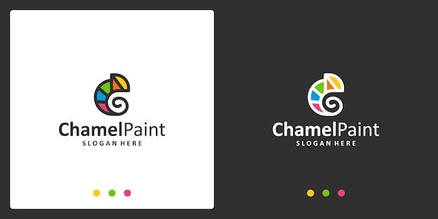 Chameleon logo inspiration and watercolor logo. premium vectors.